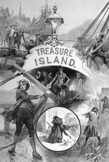 works robert louis stevenson treasure island frontispiece